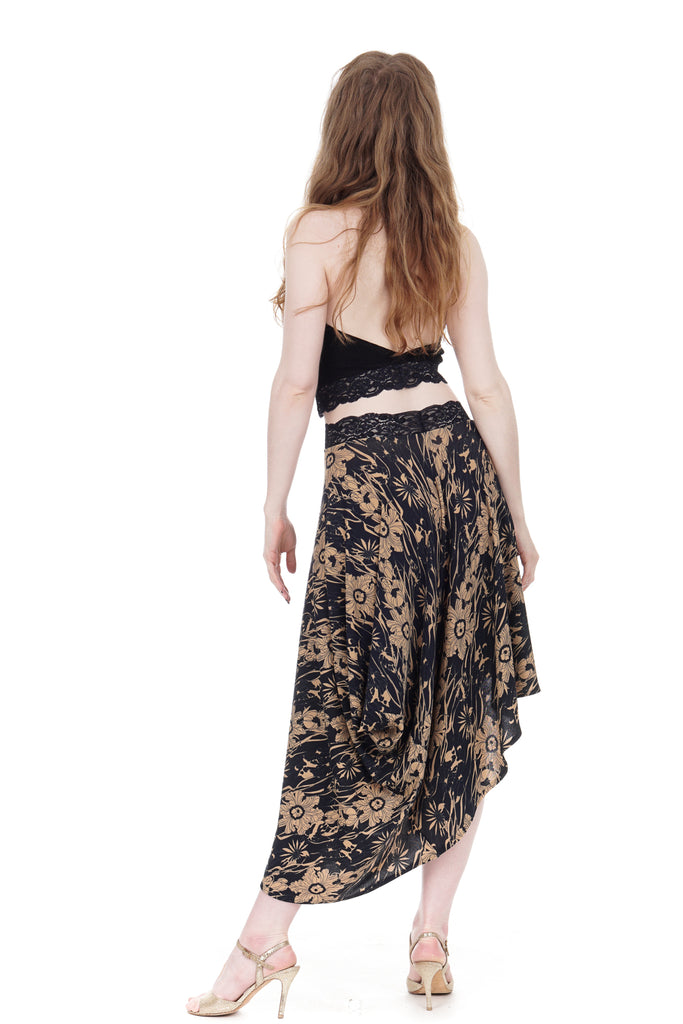 deco poppies half-bustled skirt - Poema Tango Clothes: handmade luxury clothing for Argentine tango