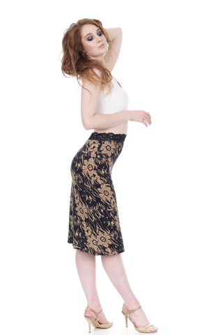 deco poppies pencil skirt