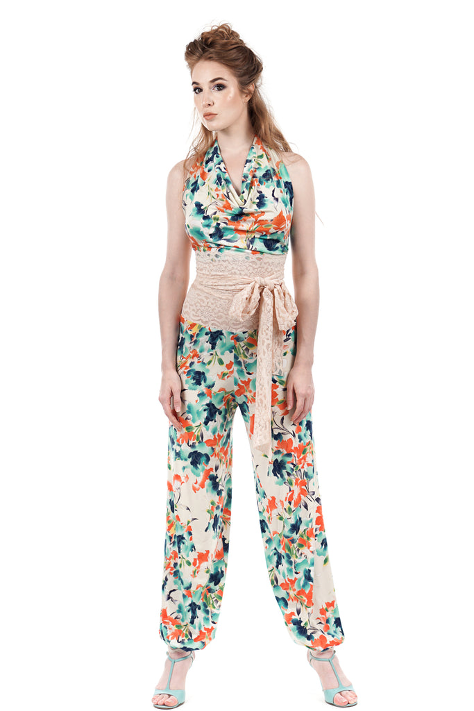 deco porcelain tango trousers - Poema Tango Clothes: handmade luxury clothing for Argentine tango