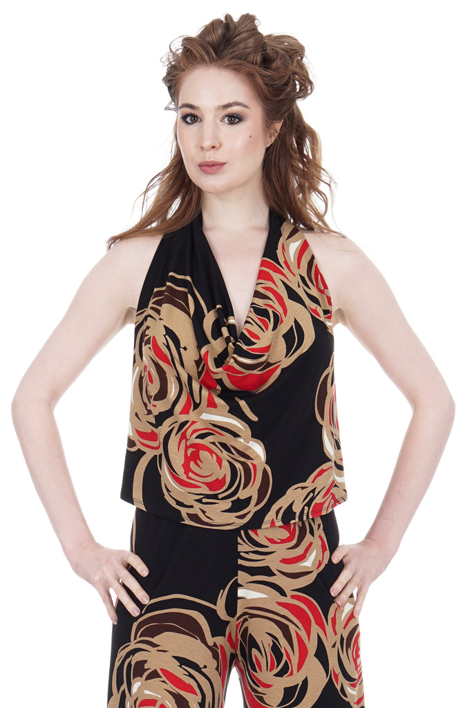 deco roses draped halter - Poema Tango Clothes: handmade luxury clothing for Argentine tango