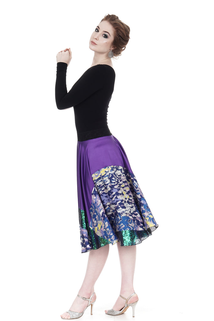 deep sea amethyst silk & sequin skirt - Poema Tango Clothes: handmade luxury clothing for Argentine tango