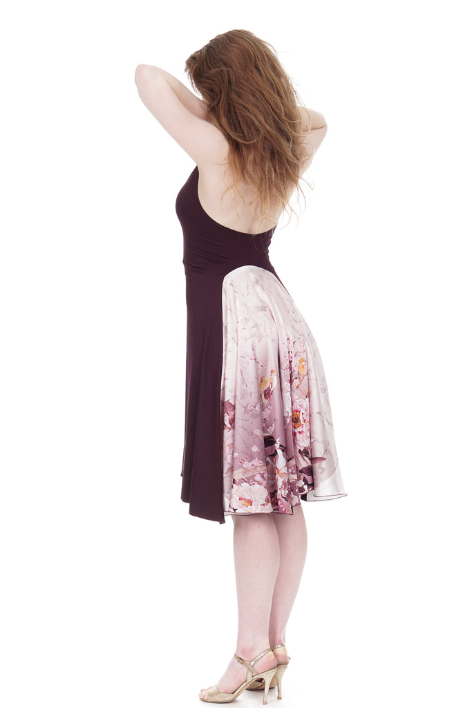 deep wine & peony halter dress - Poema Tango Clothes: handmade luxury clothing for Argentine tango
