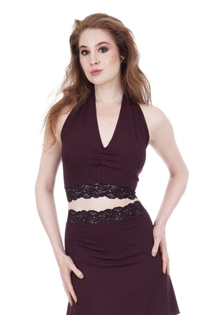 deep wine ruched halter - Poema Tango Clothes: handmade luxury clothing for Argentine tango