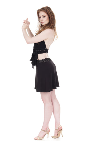 draped soft black short skirt - CLEARANCE