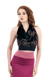 dream city velvet halter - Poema Tango Clothes: handmade luxury clothing for Argentine tango