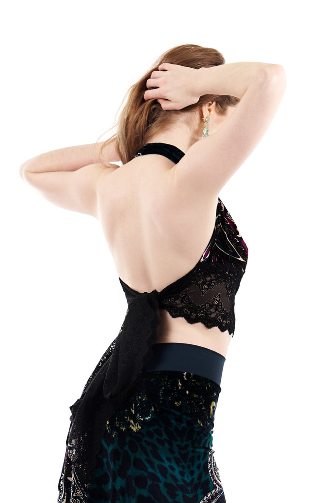 dream city velvet tie-on top - Poema Tango Clothes: handmade luxury clothing for Argentine tango