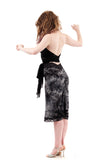 dyestorm glitter hem ruched skirt - Poema Tango Clothes: handmade luxury clothing for Argentine tango