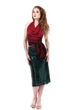 emerald sequins ruched skirt - Poema Tango Clothes: handmade luxury clothing for Argentine tango