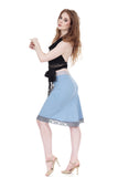 faerie blue fluted skirt - Poema Tango Clothes: handmade luxury clothing for Argentine tango