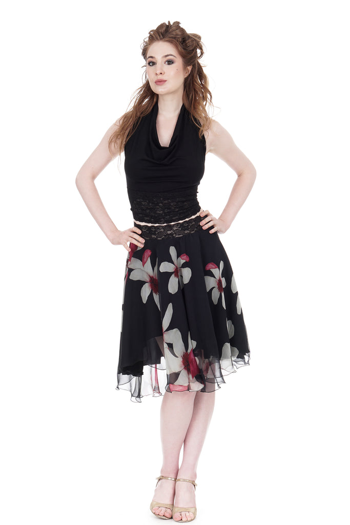 falling flowers circle skirt - Poema Tango Clothes: handmade luxury clothing for Argentine tango
