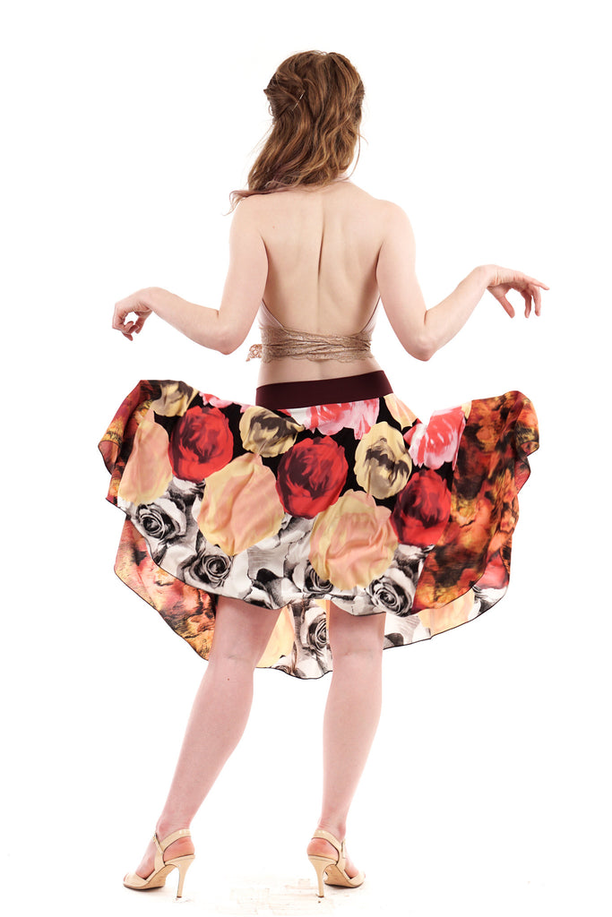fire roses skirt - Poema Tango Clothes: handmade luxury clothing for Argentine tango