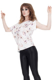 flower drawing asymmetric top - Poema Tango Clothes: handmade luxury clothing for Argentine tango