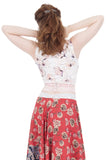 flower drawing ruched tank - Poema Tango Clothes: handmade luxury clothing for Argentine tango