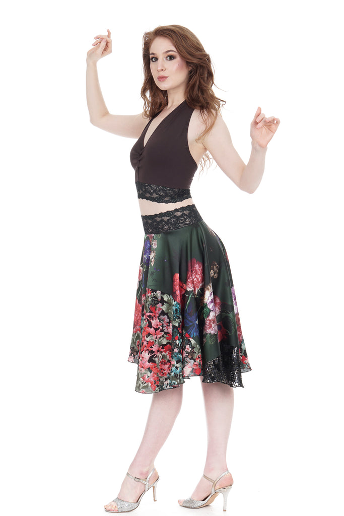 flowers on emerald & painted fields circle skirt - Poema Tango Clothes: handmade luxury clothing for Argentine tango