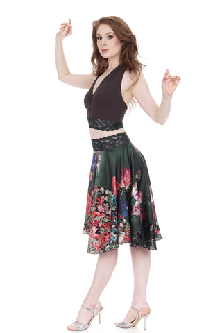 flowers on emerald & painted fields circle skirt