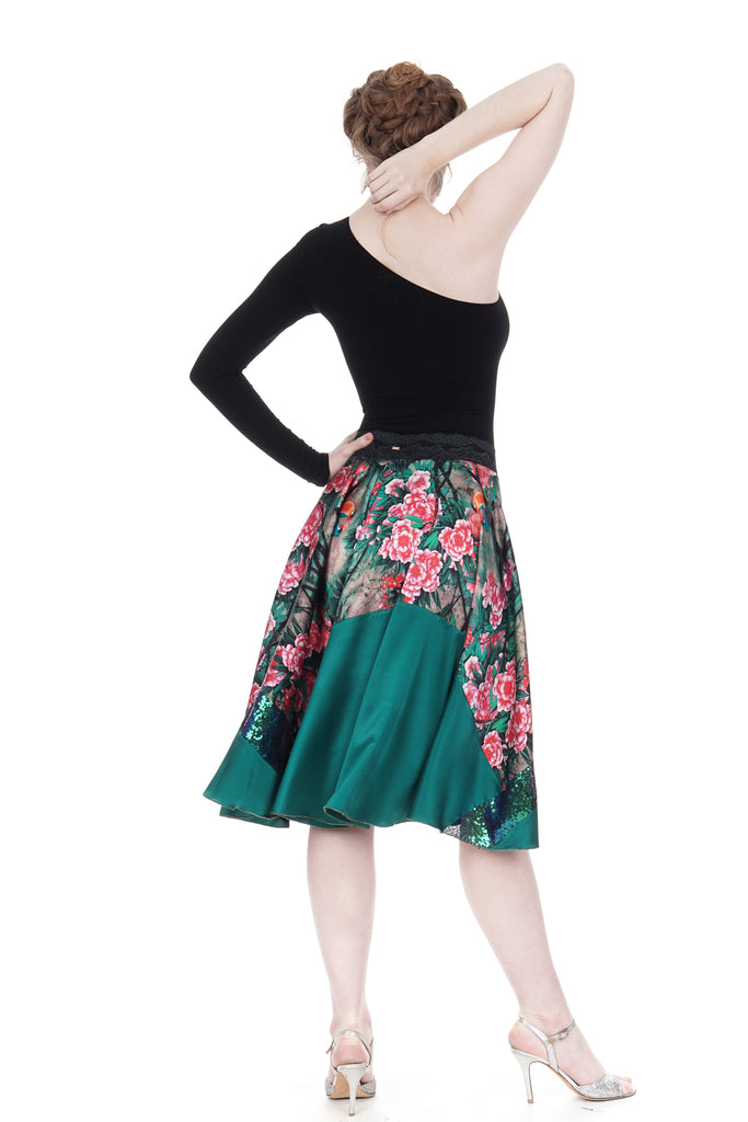 flushed flowers silk & sequin skirt - Poema Tango Clothes: handmade luxury clothing for Argentine tango