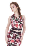 flushed roses signature halter - Poema Tango Clothes: handmade luxury clothing for Argentine tango
