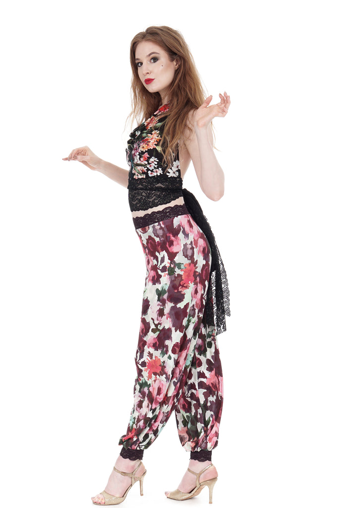 flushed roses tango trousers - Poema Tango Clothes: handmade luxury clothing for Argentine tango