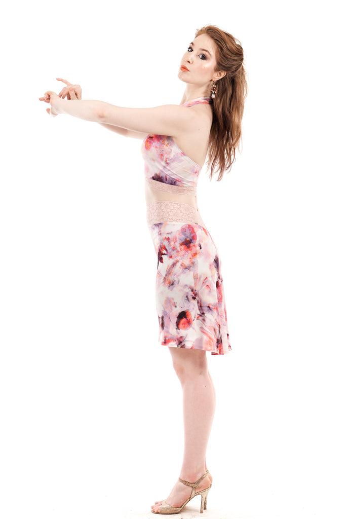fluted skirt in digital azalea - Poema Tango Clothes: handmade luxury clothing for Argentine tango
