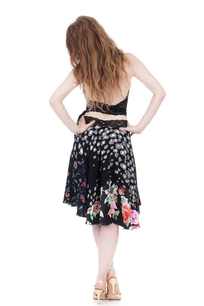forget-me-not garden silk skirt - Poema Tango Clothes: handmade luxury clothing for Argentine tango