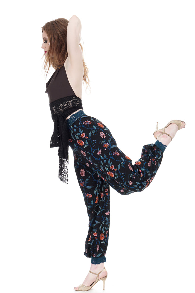 forget-me-not silk tango trousers - Poema Tango Clothes: handmade luxury clothing for Argentine tango