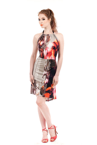 fractured poppy dress