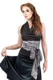 french lace & rich charcoal wrap halter - Poema Tango Clothes: handmade luxury clothing for Argentine tango