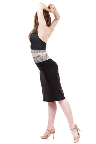 french lace & soft black ruched skirt