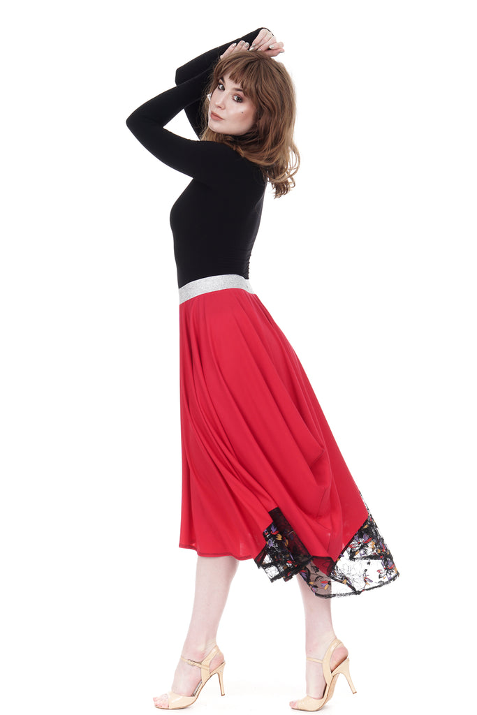 fuchsia & embroidered mesh half-bustled skirt - Poema Tango Clothes: handmade luxury clothing for Argentine tango