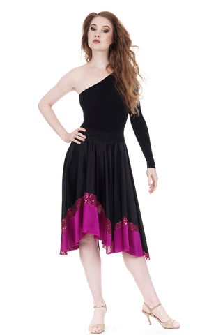 fuchsia-and-sequin-dipped inky silk skirt