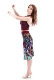 gem rainbow ruched skirt - Poema Tango Clothes: handmade luxury clothing for Argentine tango