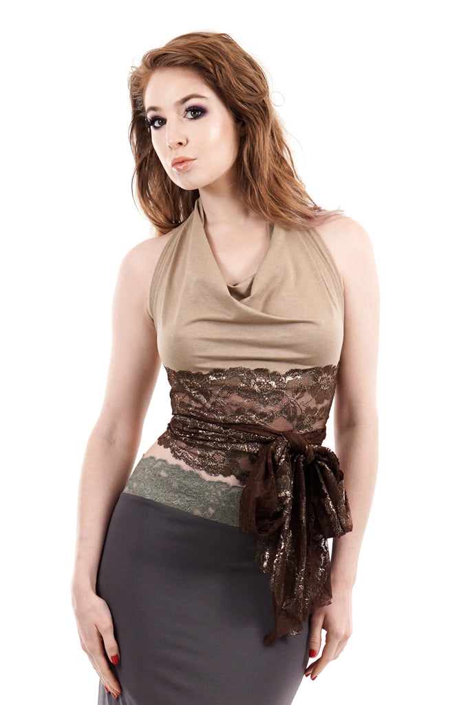 gilded marzipan wrap top - Poema Tango Clothes: handmade luxury clothing for Argentine tango