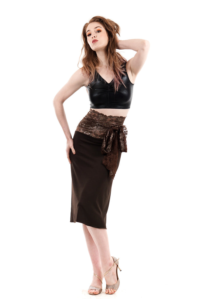 gilt and truffle ruched skirt - Poema Tango Clothes: handmade luxury clothing for Argentine tango