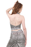 gilt shimmer & snowflake lace signature halter - Poema Tango Clothes: handmade luxury clothing for Argentine tango