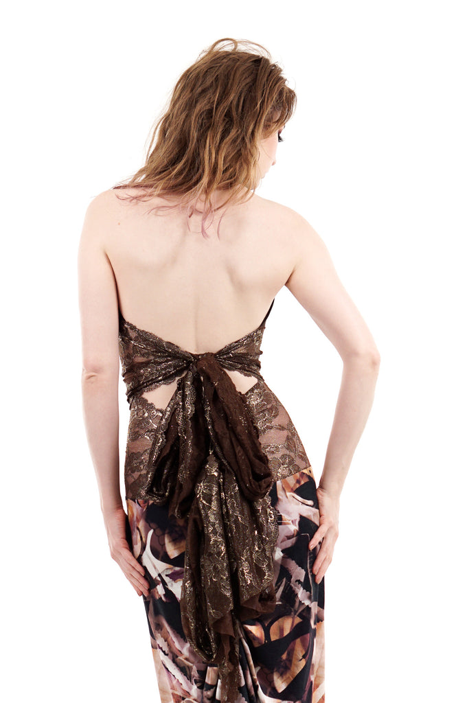 gilt truffle tie-on halter - Poema Tango Clothes: handmade luxury clothing for Argentine tango