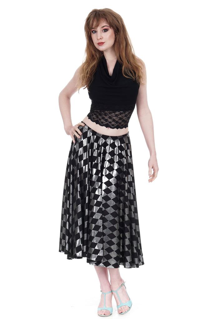 gleaming harlequin cascade skirt - Poema Tango Clothes: handmade luxury clothing for Argentine tango
