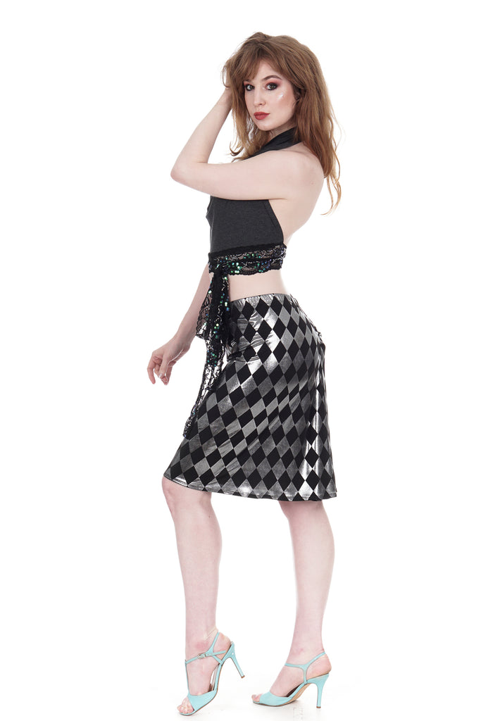 gleaming harlequin ruched skirt - Poema Tango Clothes: handmade luxury clothing for Argentine tango