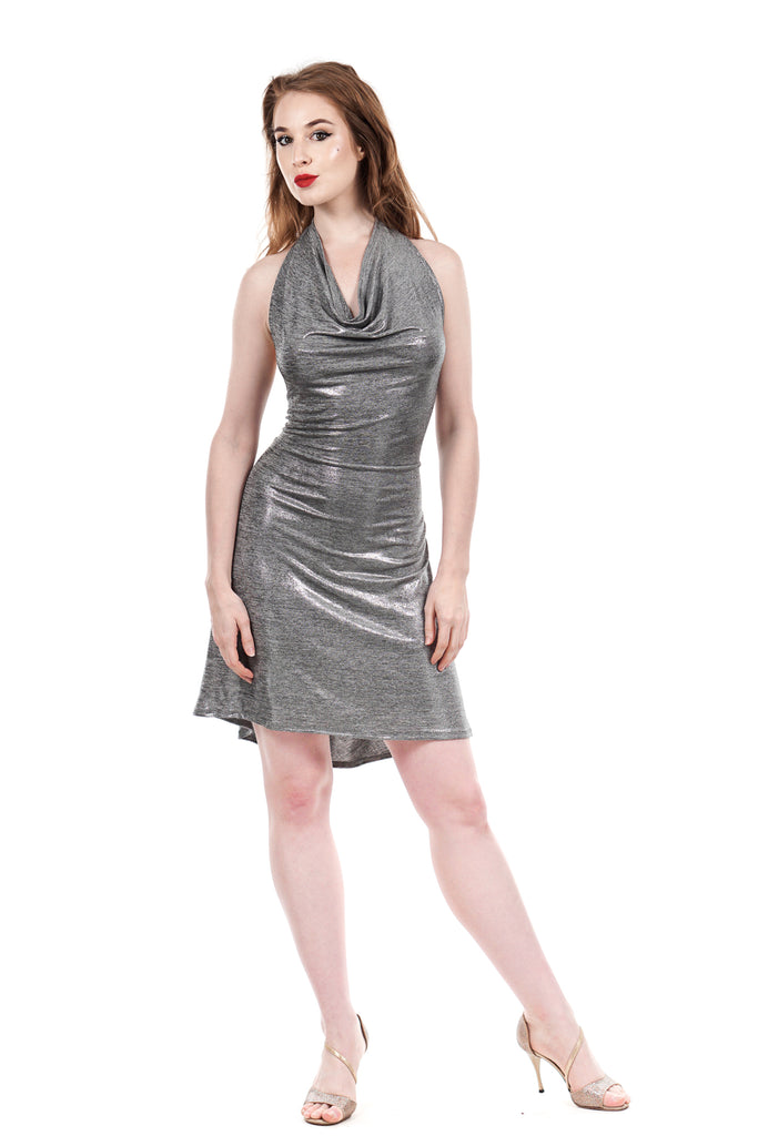 glitz silver dress - Poema Tango Clothes: handmade luxury clothing for Argentine tango
