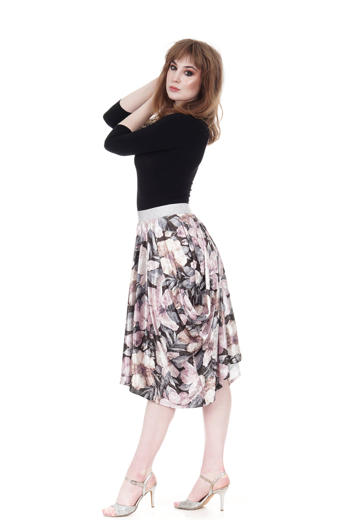 glossy bouquet bustled skirt - Poema Tango Clothes: handmade luxury clothing for Argentine tango