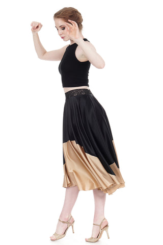 gold-dipped ink silk skirt