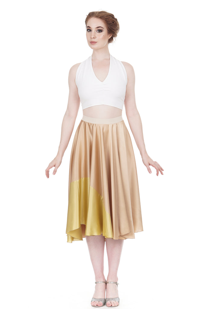 gold-dipped rose gold silk skirt - Poema Tango Clothes: handmade luxury clothing for Argentine tango