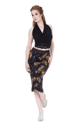 gold night rose fluted skirt