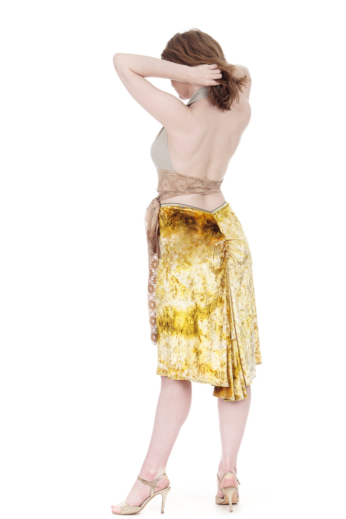 gold ripple velvet ruched skirt - Poema Tango Clothes: handmade luxury clothing for Argentine tango