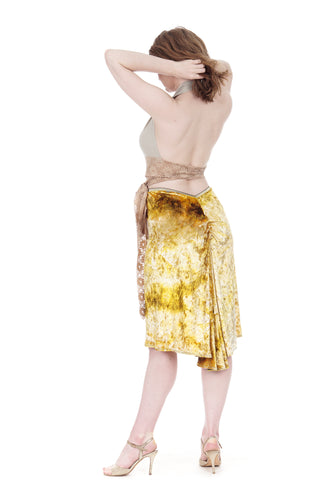 gold ripple velvet ruched skirt