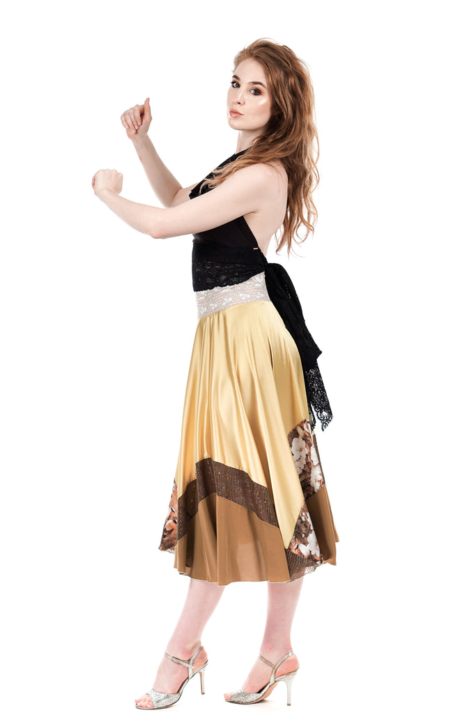 golden cedar circle skirt - Poema Tango Clothes: handmade luxury clothing for Argentine tango