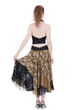 golden cranes and storm leopard circle skirt - Poema Tango Clothes: handmade luxury clothing for Argentine tango