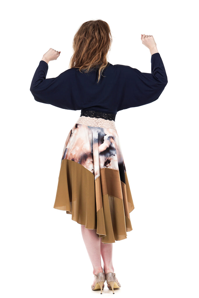 golden dreamclouds circle skirt - Poema Tango Clothes: handmade luxury clothing for Argentine tango
