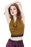 goldenrod & burgundy lace signature halter - Poema Tango Clothes: handmade luxury clothing for Argentine tango