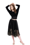 goldshot inky wing skirt - Poema Tango Clothes: handmade luxury clothing for Argentine tango