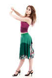 green and gold circle skirt - Poema Tango Clothes: handmade luxury clothing for Argentine tango